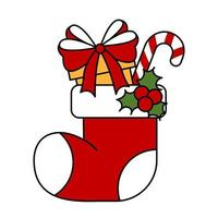 Red sock with gifts from santa claus with amela Gift box vector