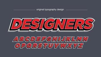 tipografía cursiva roja 3d deportes vector