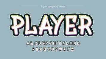 tipografía de graffiti de contorno colorido blanco vector