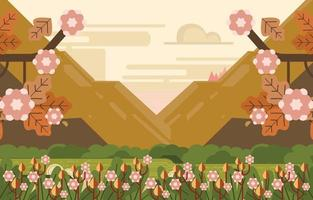 Autumn Flowers By The River With Mountain View Background vector