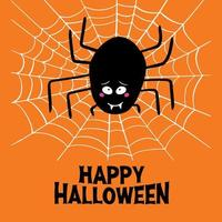 Cartoon spider on cobweb and happy halloween on orange background vector
