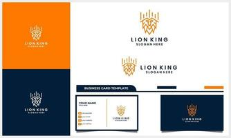 line art lion with crown king logo concept and business card template vector