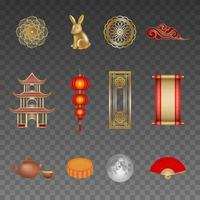 set of chinese mid autumn festival elements vector