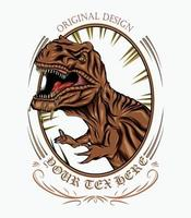 Illustration of tyrannosaurus with ornament frame. vector