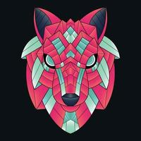 Abstract Colorful Ornament Doodle Art Wolf Illustration vector