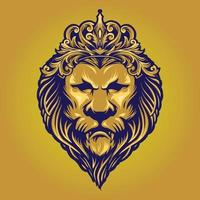 Vintage Gold King Lion with Ornament Crown vector