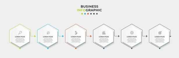 Infographic design template with icons and 6 options or steps vector