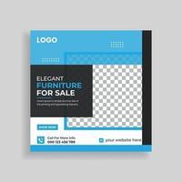 Exclusive Modern Furniture Sale Social Media Post Template Design vector