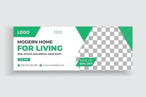 Real Estate Social Media Timeline Cover and Web Banner Template vector