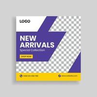 New Arrival Sale Social Media Post Template Design vector