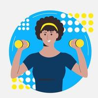 The dark-skinned girl goes in for sports with dumbbells. vector