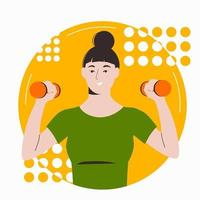 Asian girl with dark hair goes in for sports with dumbbells vector