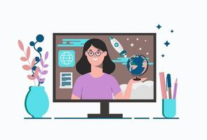 Remote education for schoolchildren. Education at home online. vector