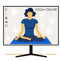 Yoga online. Girl coach holds a lesson online. Monitor screen. vector