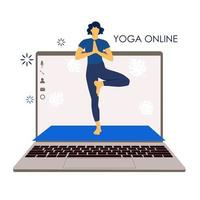 Yoga online. Girl coach holds a lesson online. Laptop screen. Sports vector