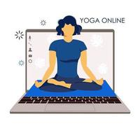Yoga online. Girl coach holds a lesson online. Laptop screen vector