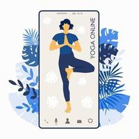 Yoga online. Girl coach on a smartphone screen conducts vector