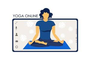 Yoga online. Girl coach on a smartphone screen conducts a lesson vector