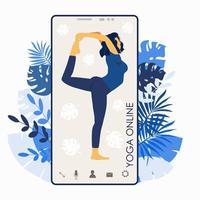 Yoga online. Girl coach on a smartphone vector