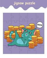 jigsaw puzzle game of cat with coins vector