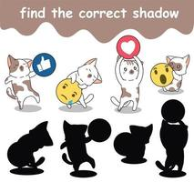 find the correct shadow of adorable cats with social media icons vector