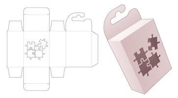 caja de embalaje colgante de cartón con plantilla troquelada de ventana en forma de rompecabezas vector