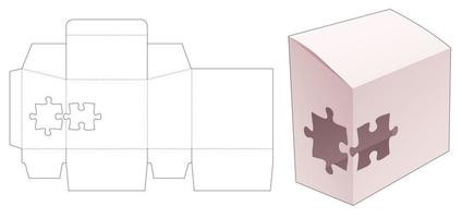 Sloped packaging with stenciled 2 jigsaw pieces die cut template vector