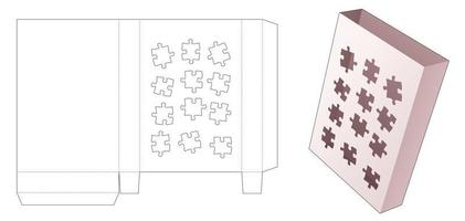 Tin document box with stenciled jigsaw pieces die cut template vector