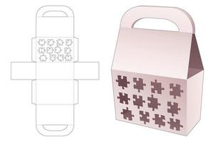 Handle bag box with stenciled 12 jigsaw pieces die cut template vector