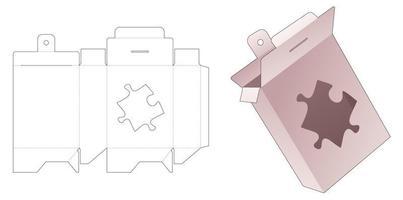 Embalaje colgante de cartón con plantilla troquelada de ventana en forma de rompecabezas vector