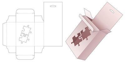 Caja de embalaje colgante de cartón con plantilla troquelada en forma de rompecabezas con plantilla vector