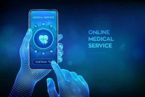 Servicios médicos en línea, concepto de consulta y soporte. vector