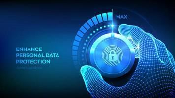 botón de perilla de niveles de seguridad de privacidad. vector