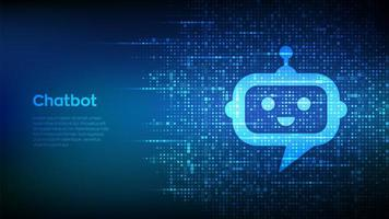 Robot chatbot head icon sign made with binary code. vector