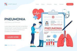 diagnóstico médico - neumonía. Infección de los pulmones. vector