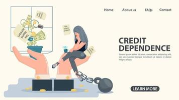 A girl in shackles sits on the palm of her hand in front of a money vector