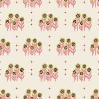 retro small sunflower flower illustration seamless pattern vector