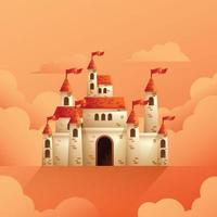 Medieval castle vector illustration on cloudy background
