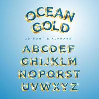 Blue OCEAN GOLD type set style modern. vector