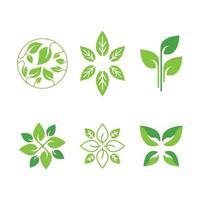 conjunto de plantillas de diseño de logotipo ecología verde vector