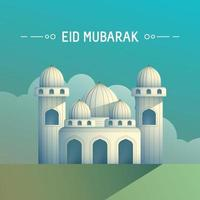 Ramadan concept with mosque in the morning vector