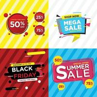 Set of colorful design sale stickers for online shopping vector