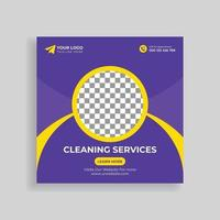 Cleaning Service Social Media Post Template Design vector