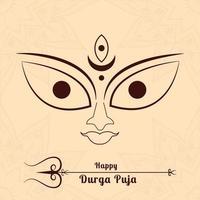 Durga Face in Happy Durga Puja Subh Navratri  with Trishul vector