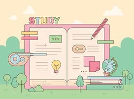 Study banner illustration vector
