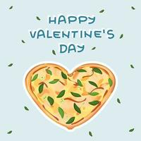 Yellow Heart shaped pizza with cheese vector