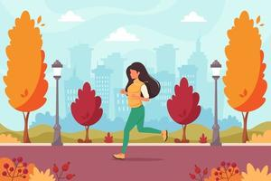 Woman jogging in the autumn park. Healthy lifestyle, sport vector
