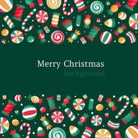 Merry Christmas background. Christmas sweets and candies collection. vector