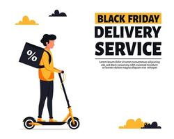 Black friday delivery service. Courier riding electric scooter vector