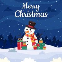 Merry Christmas. Winter landscape with snowman and gifts. vector